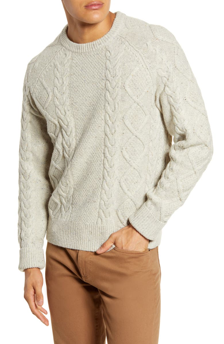 MADEWELL Donegal Cable Knit Fisherman Sweater, Main, color, 020