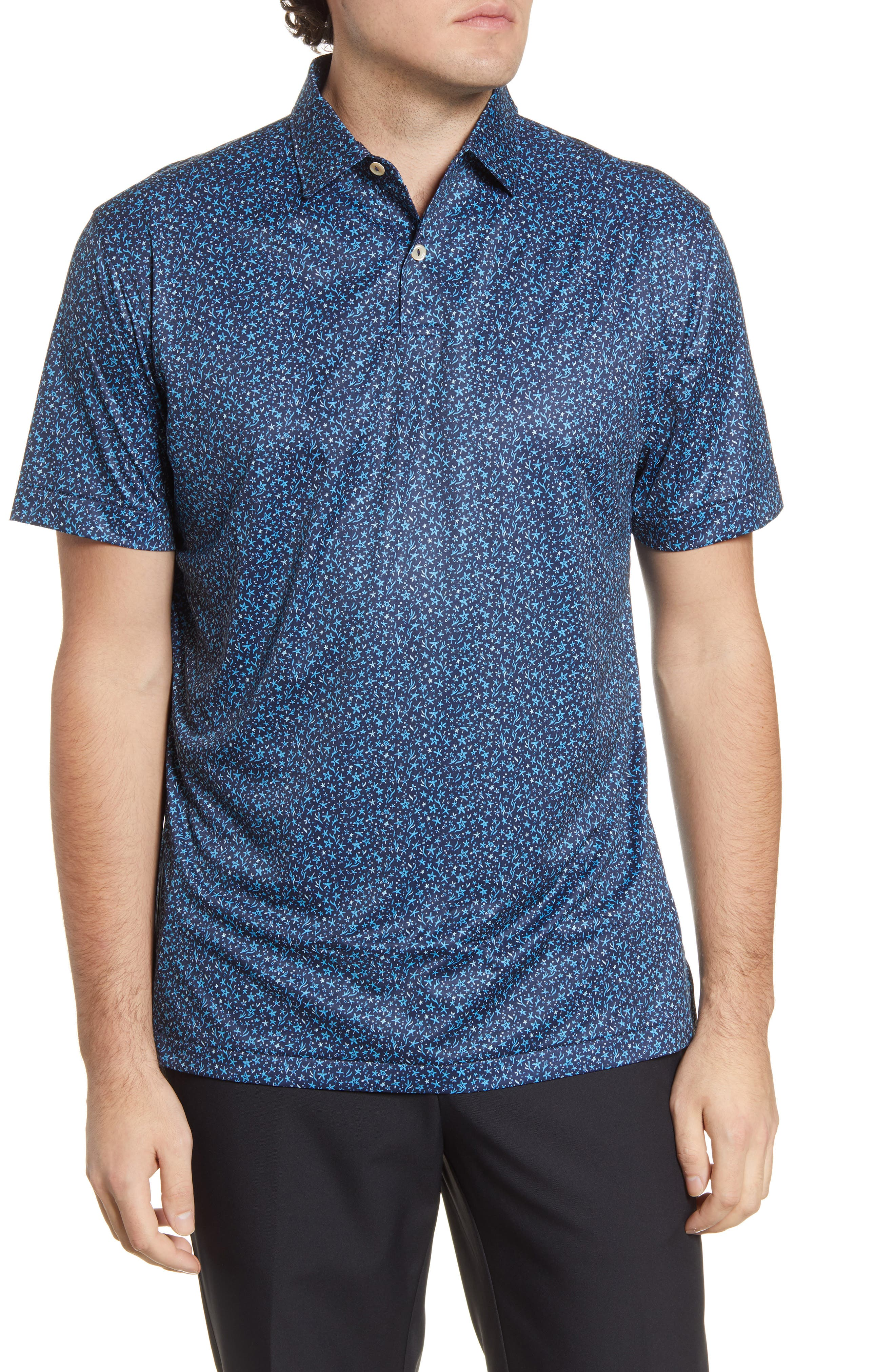Image of Peter Millar Featherweight Starfish Print Polo Shirt