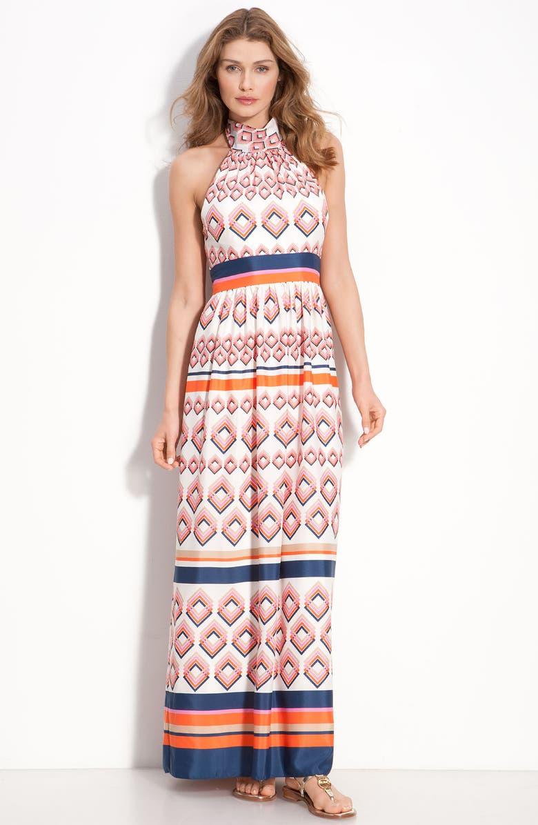 ELIZA J Tie Neck Maxi Dress, Main, color, 100