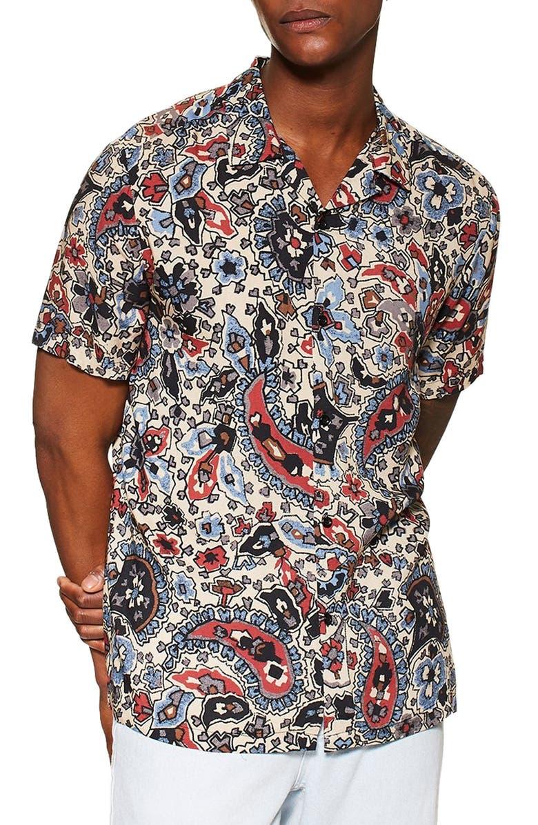 TOPMAN Floral Slim Fit Paisley Shirt, Main, color, STONE MULTI