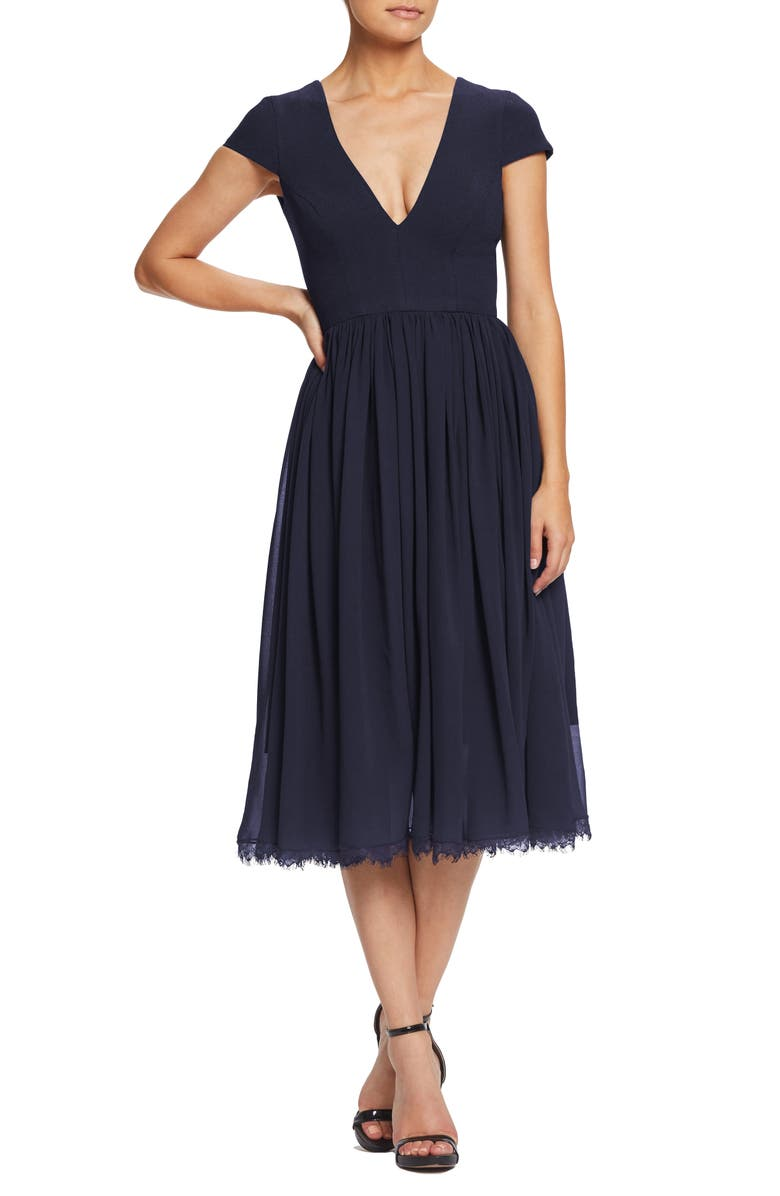 DRESS THE POPULATION Corey Chiffon Fit & Flare Cocktail Dress, Main, color, MIDNIGHT BLUE