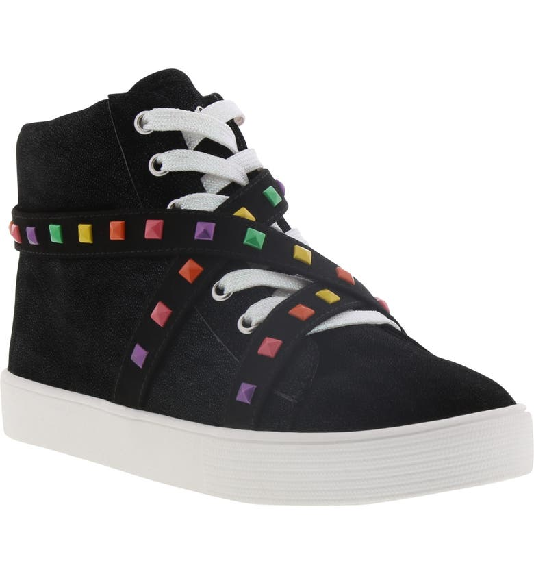 SAM EDELMAN Bella Iliana High Top Sneaker, Main, color, BLACK