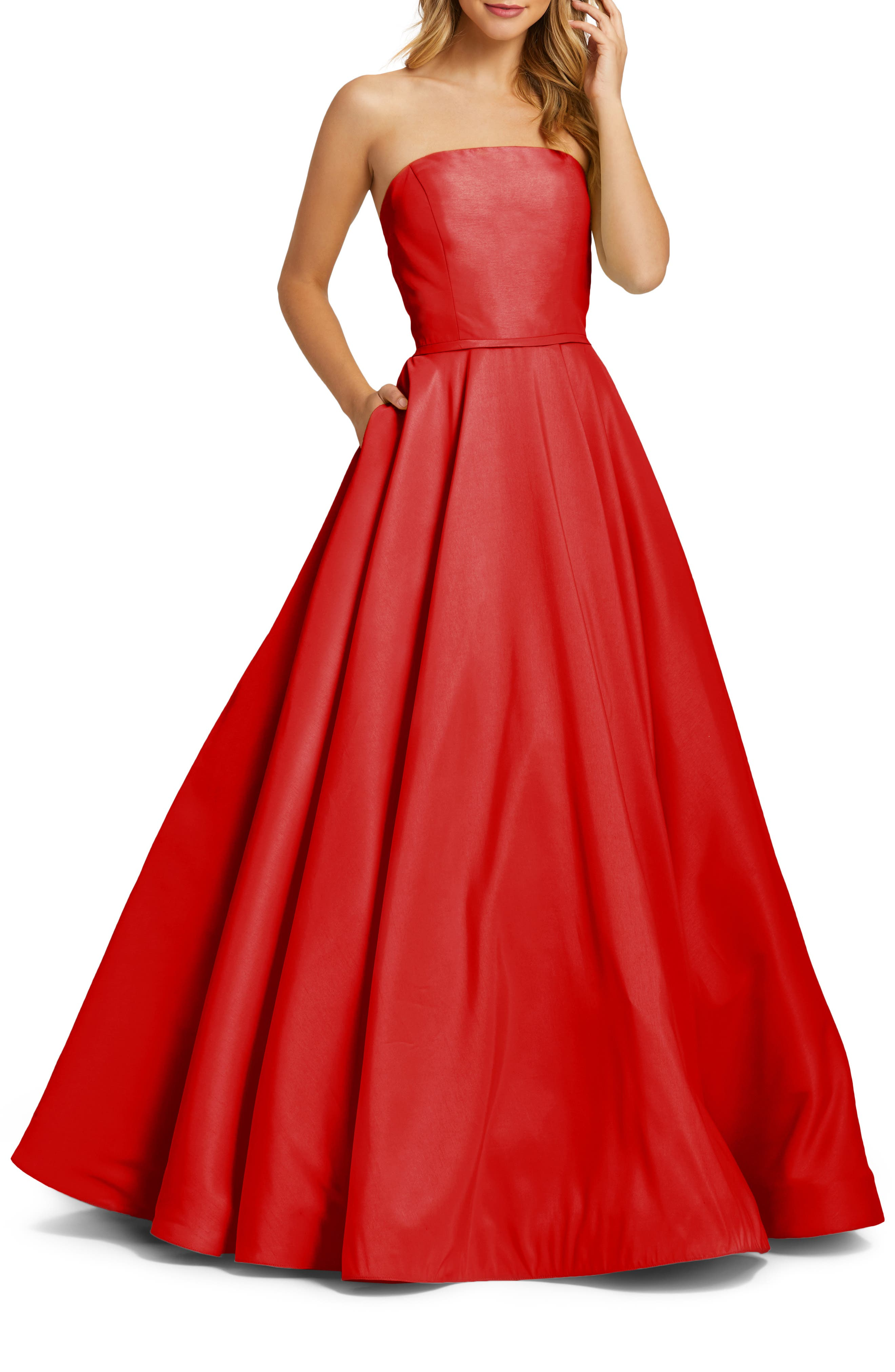 80s Dress Styles | Party, Prom, Formal Womens Ieena For MAC Duggal Strapless Ballgown Size 16 - Red $398.00 AT vintagedancer.com
