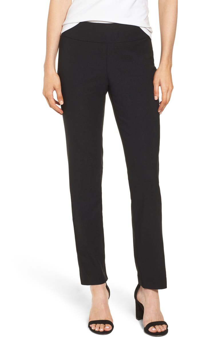 NIC+ZOE 'The Wonder Stretch' Straight Leg Pants, Main, color, BLACK ONYX