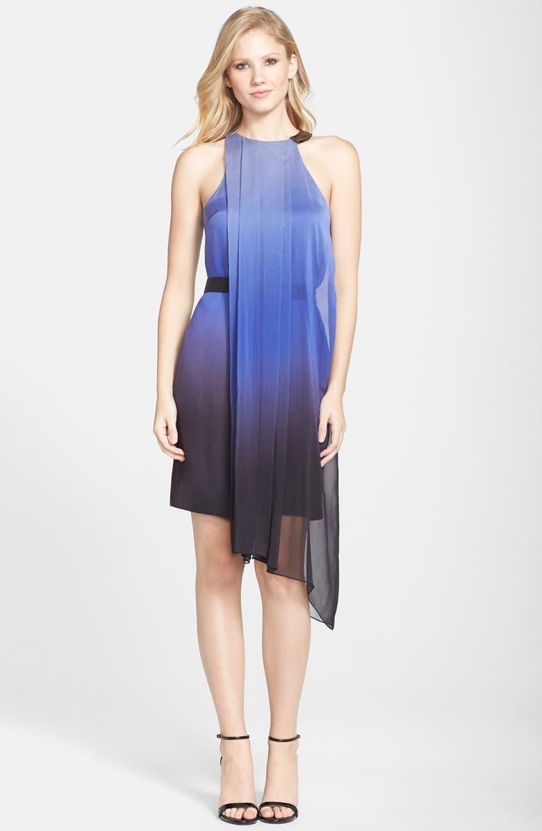 HALSTON HERITAGE Asymmetrical Georgette Cape Dress, Main, color, 400