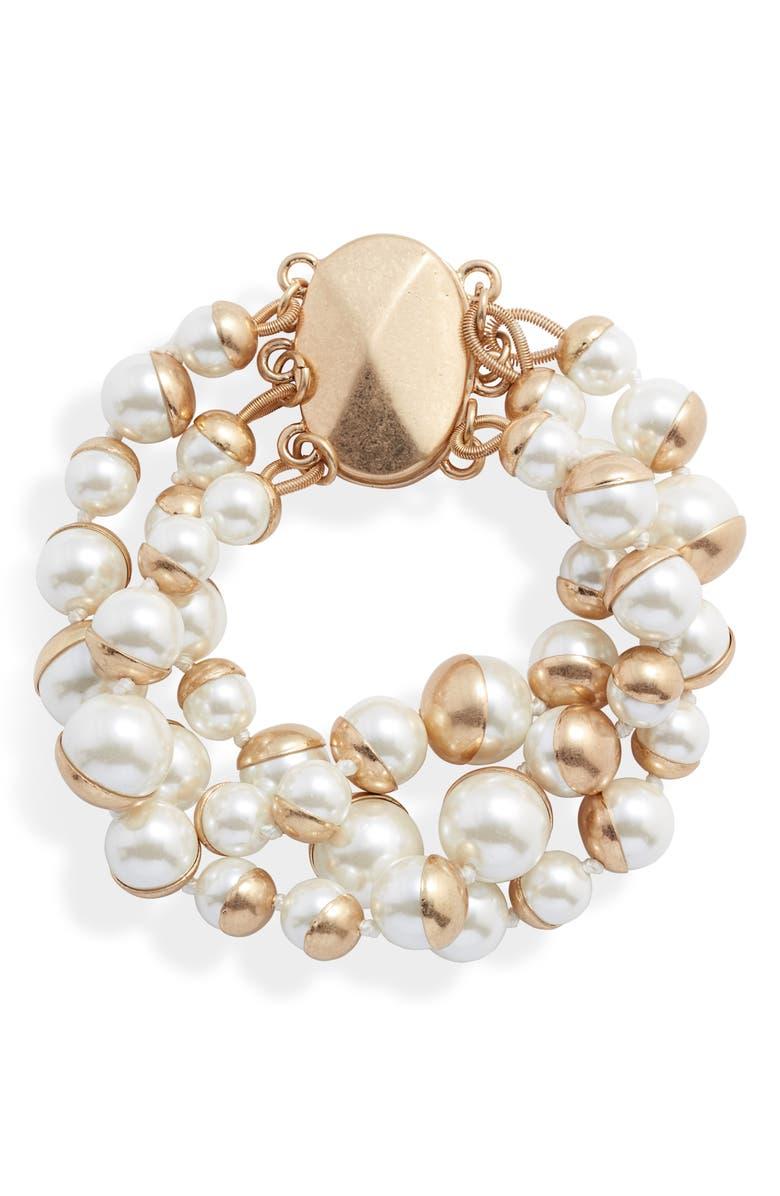 BRACHA Coco Simulated Pearl Bracelet, Main, color, GOLD / PEARL