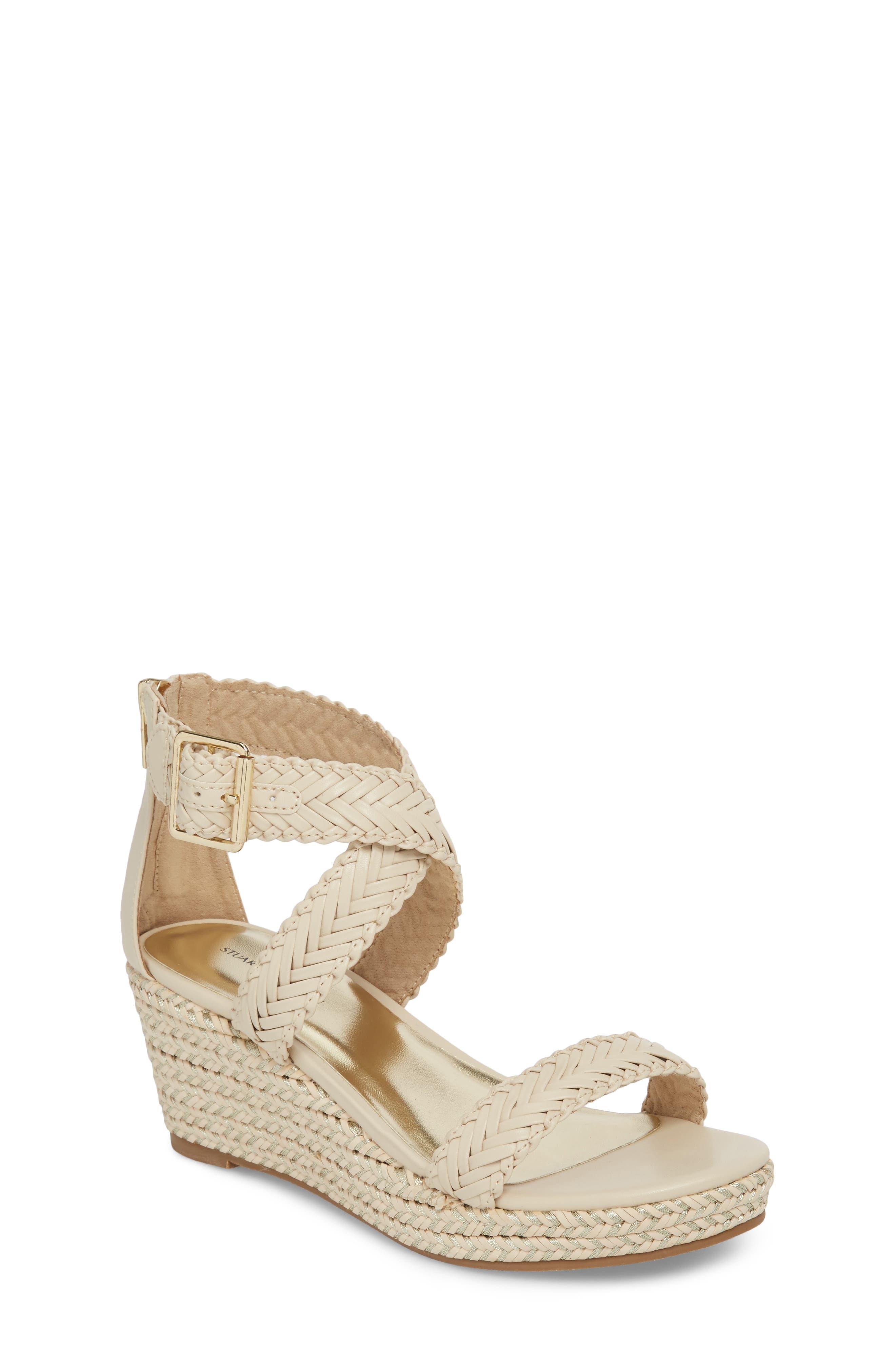 Akilah Sparkle Wedge Sandal, Main, color, OFF WHITE