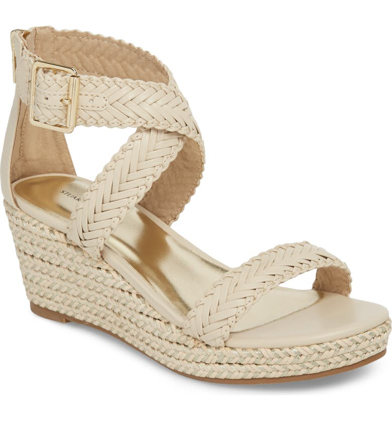 STUART WEITZMAN Akilah Sparkle Wedge Sandal, Main, color, OFF WHITE