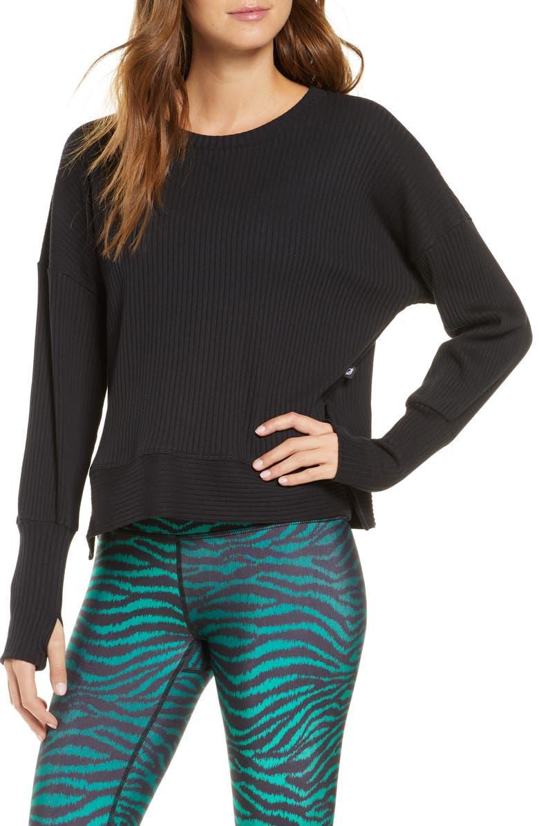 TEREZ Rib Pullover with Thumbholes, Main, color, BLACK