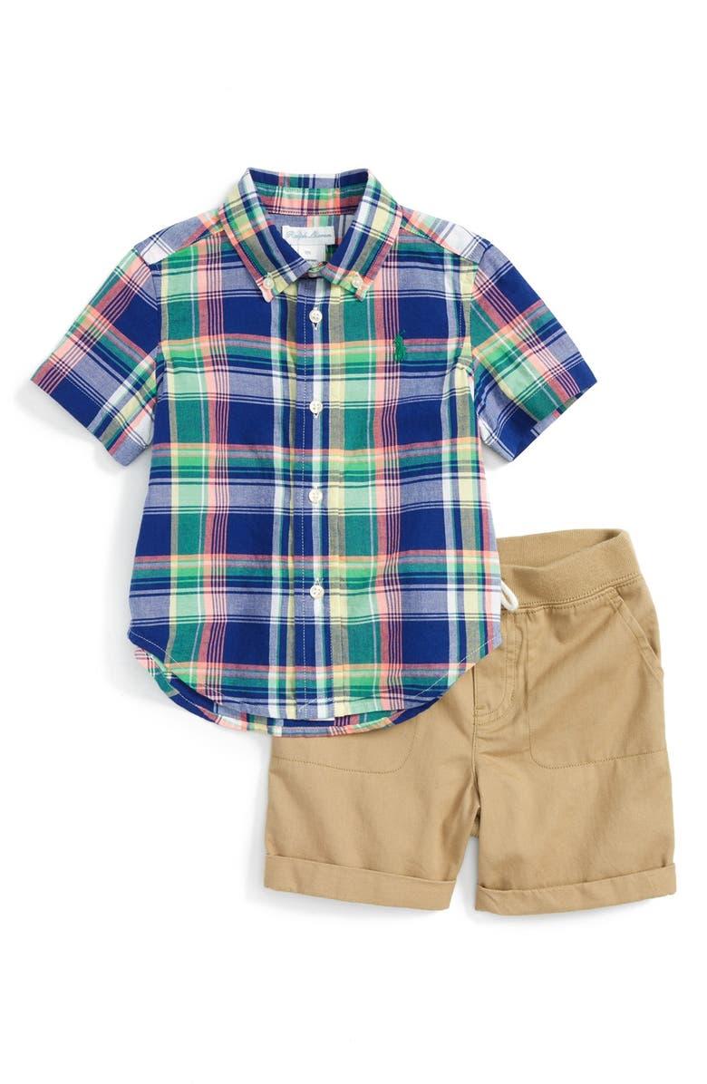 bf951287 Ralph Lauren Madras Plaid Shirt & Khaki Shorts Set (Baby ...
