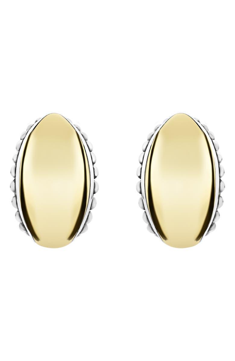 LAGOS Signature Caviar Omega Earrings, Main, color, SILVER/ GOLD