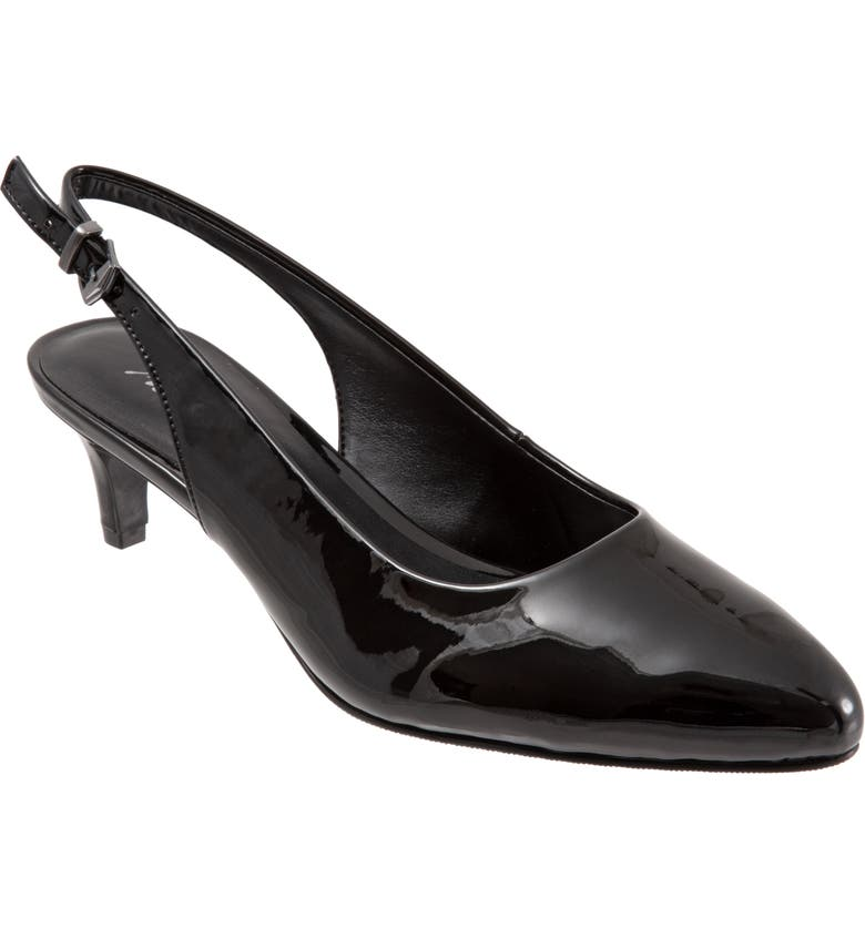 TROTTERS Keely Slingback Pump, Main, color, BLACK FAUX PATENT LEATHER