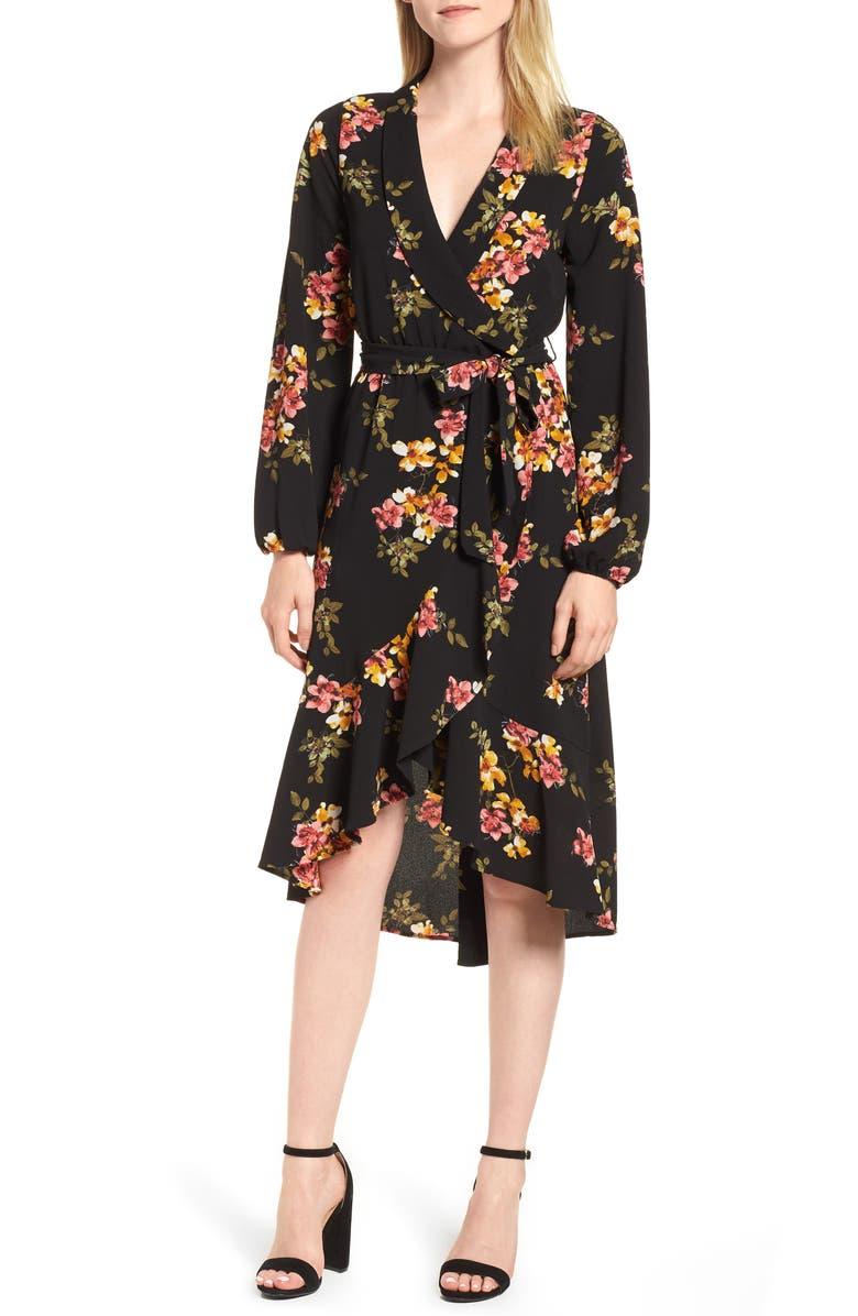 BOBEAU Faux Wrap Dress, Main, color, 002