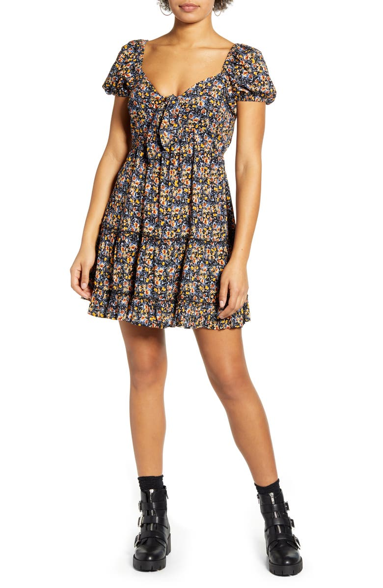 BAND OF GYPSIES Tie Front Short Sleeve Minidress, Main, color, BLACK MUSTARD
