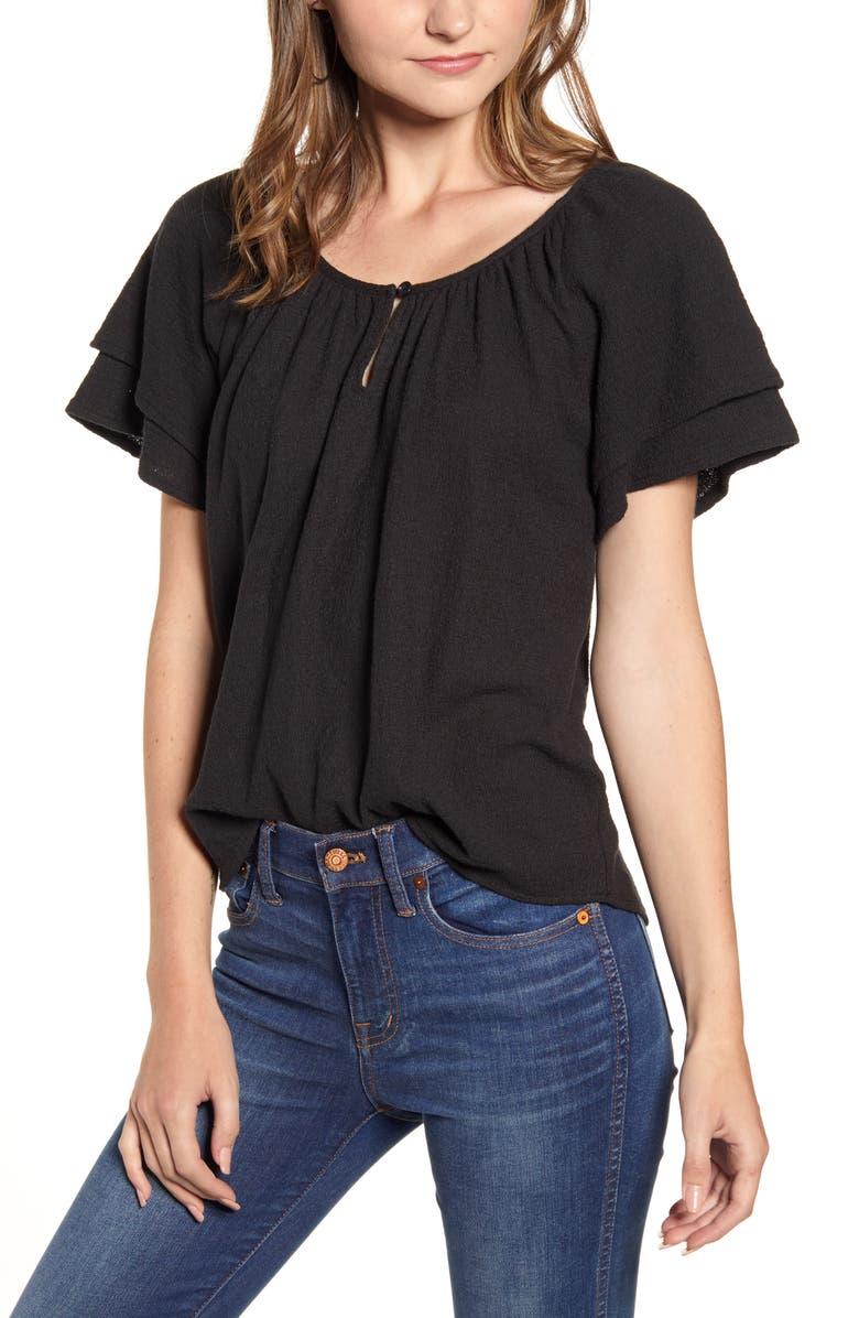 MADEWELL Texture & Thread Tiered Sleeve Top, Main, color, TRUE BLACK