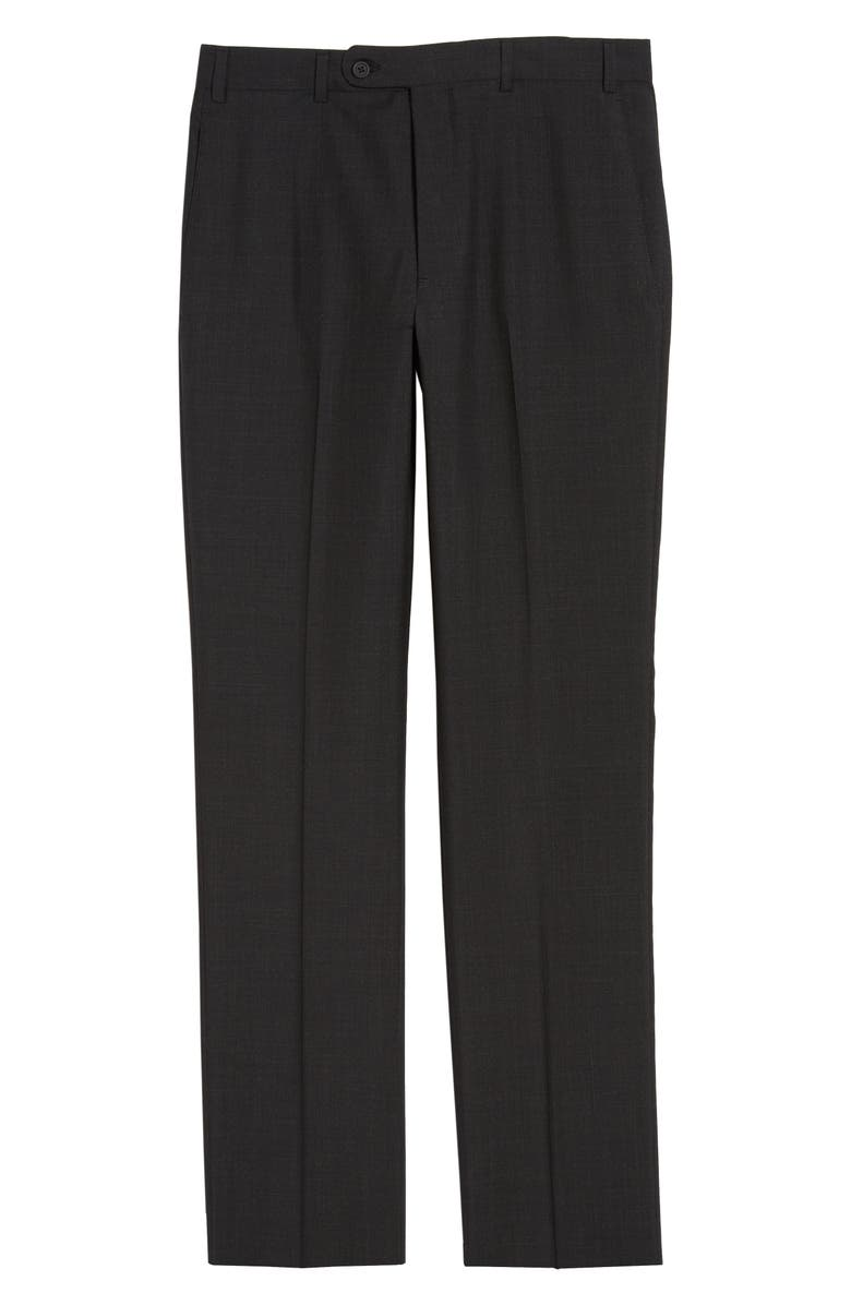 JOHN W. NORDSTROM<SUP>®</SUP> Torino Flat Front Solid Wool Trousers, Main, color, 001
