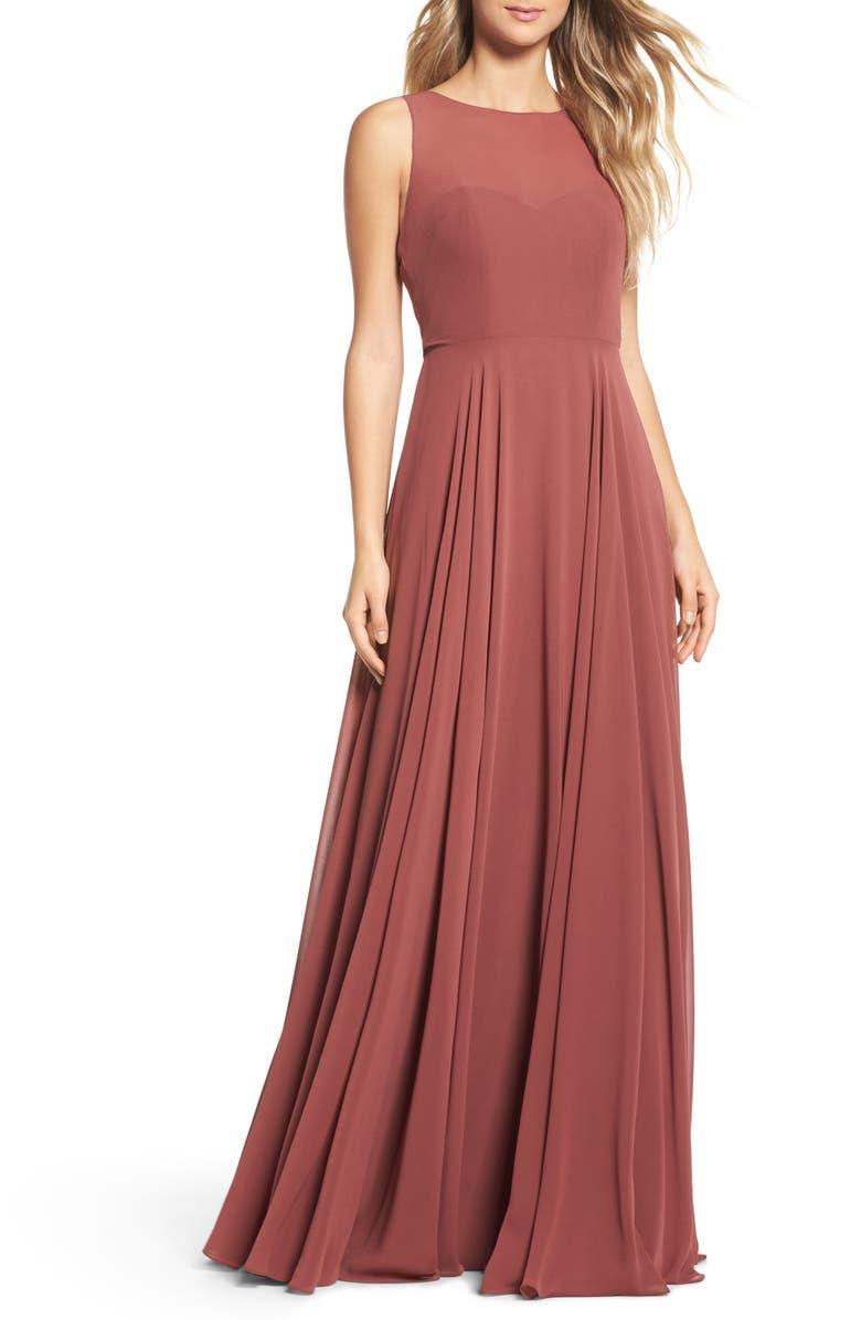 JENNY YOO Elizabeth Chiffon Gown, Main, color, CINNAMON ROSE