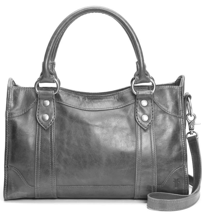 FRYE 'Melissa' Washed Leather Satchel, Main, color, CARBON