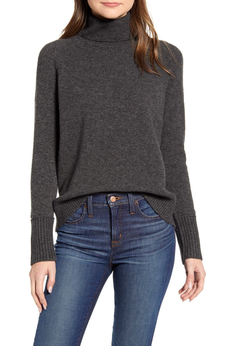 J.CREW Side Slit Supersoft Turtleneck Sweater, Main, color, HEATHER CHARCOAL