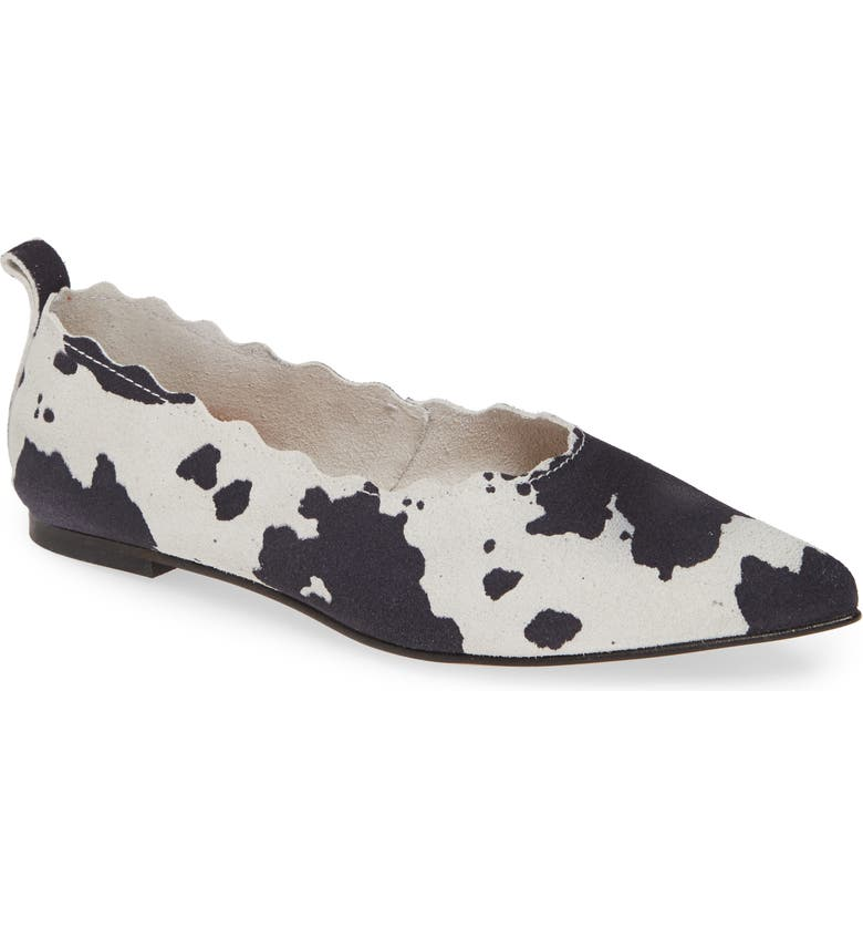 KLUB NICO Naomi Scallop Pointy Toe Flat, Main, color, COW SUEDE