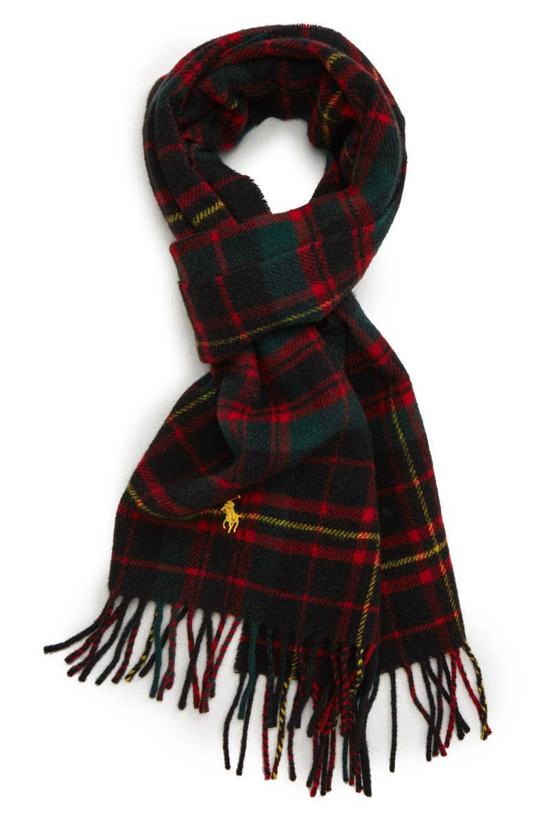POLO RALPH LAUREN Tartan Wool Scarf, Main, color, 354