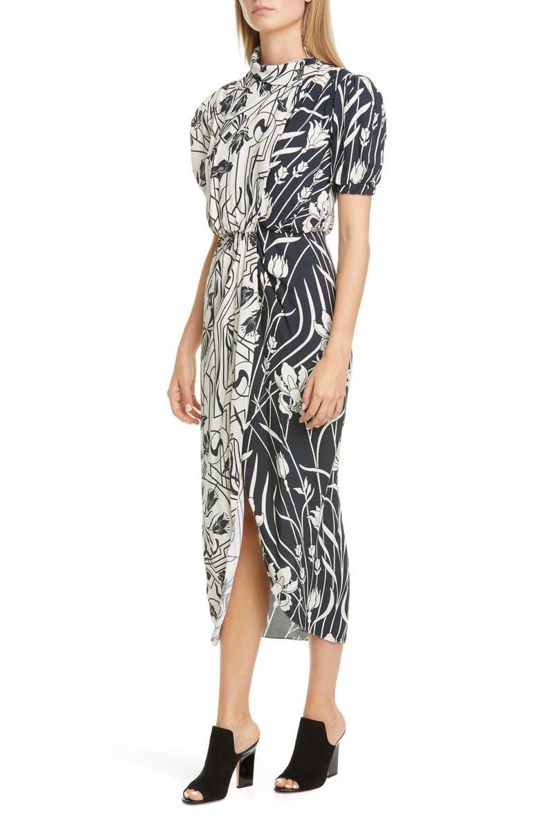 JOHANNA ORTIZ Bicolor Floral Drape Neck Midi Dress, Main, color, BLACK/ ECRU
