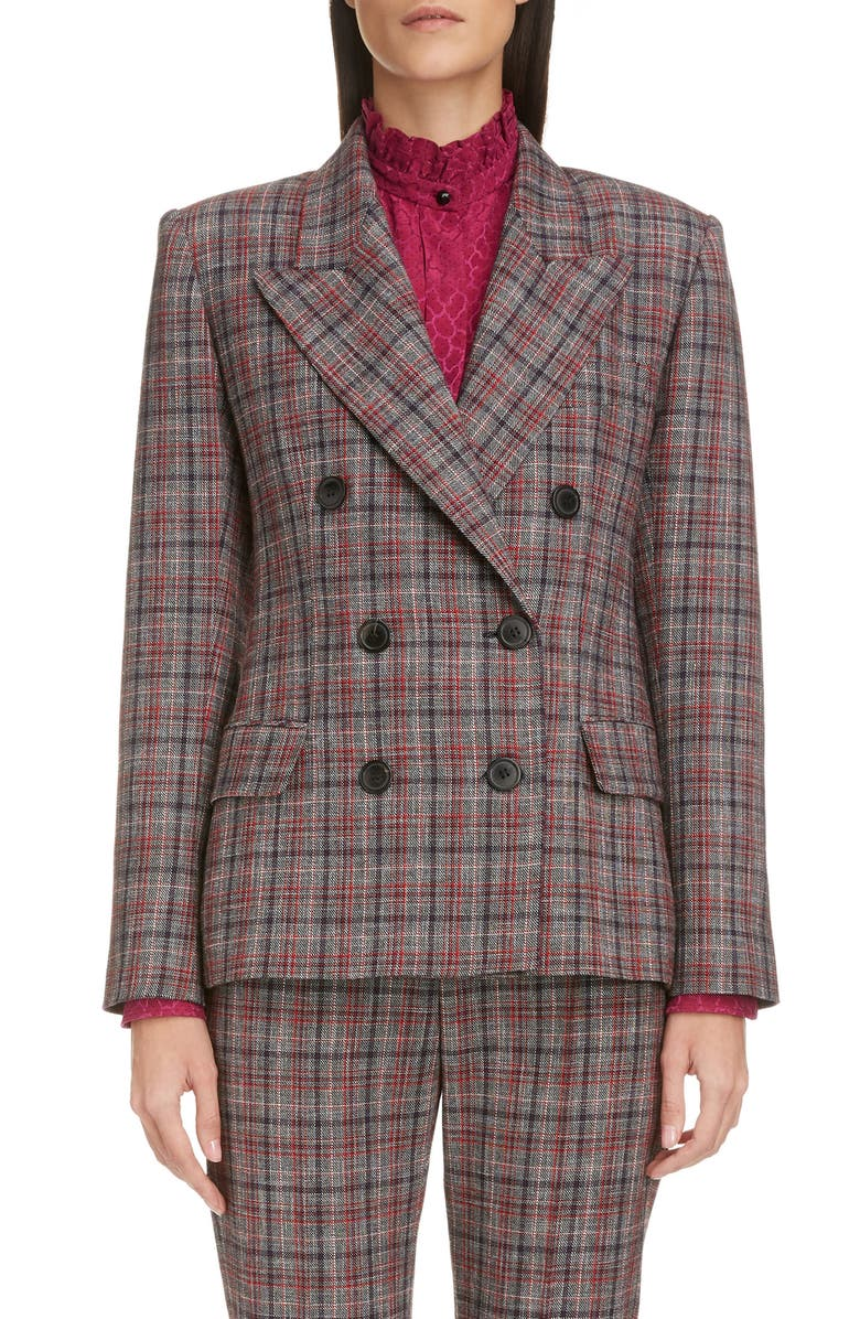 ISABEL MARANT Double Breasted Plaid Blazer, Main, color, RED/ BLACK