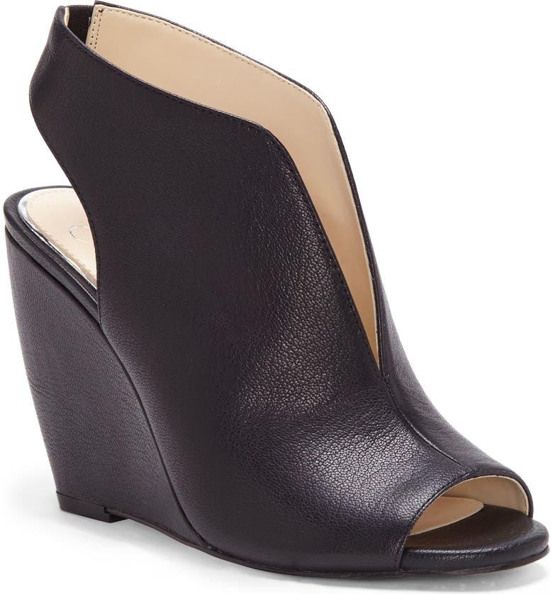 JESSICA SIMPSON Coletta Wedge Sandal, Main, color, BLACK LEATHER