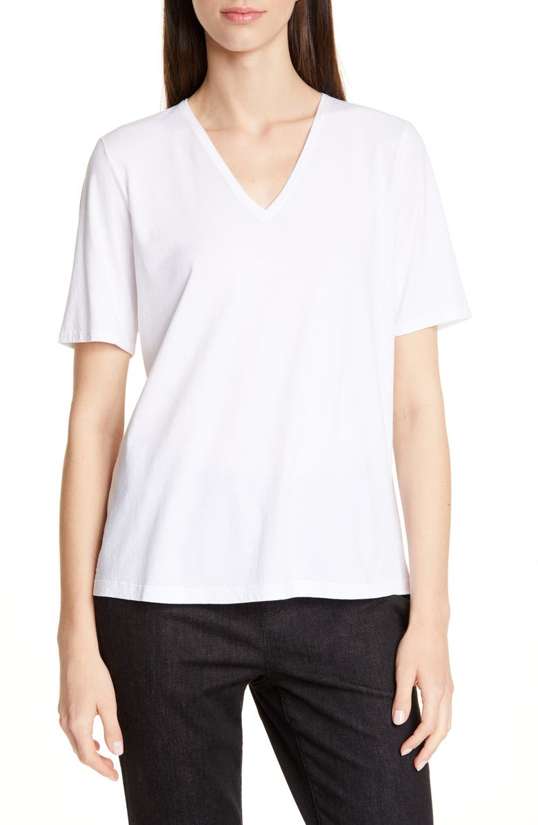 EILEEN FISHER V-Neck Organic Cotton Tee, Main, color, WHITE