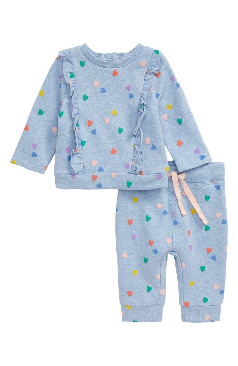 MINI BODEN Ruffle Floral Play Top & Pants Set, Main, color, 424