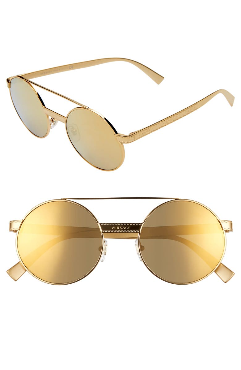 VERSACE 52mm Mirrored Round Sunglasses, Main, color, 712