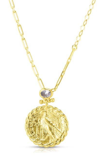 Image of Sphera Milano 14K Yellow Gold Plated Sterling Silver CZ & Coin Pendant Necklace