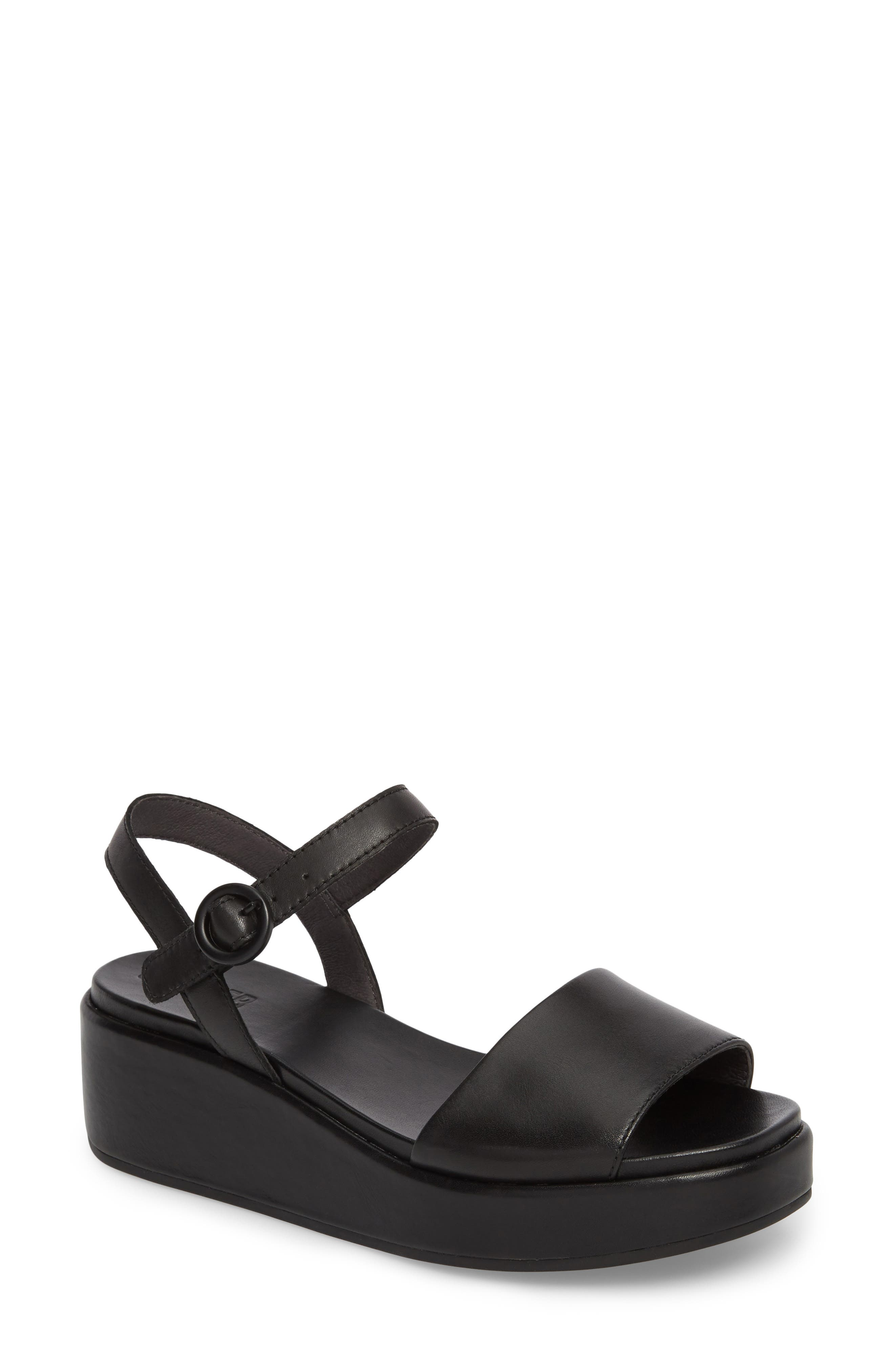 ,                             Misia Platform Wedge Sandal,                             Main thumbnail 1, color,                             BLACK LEATHER