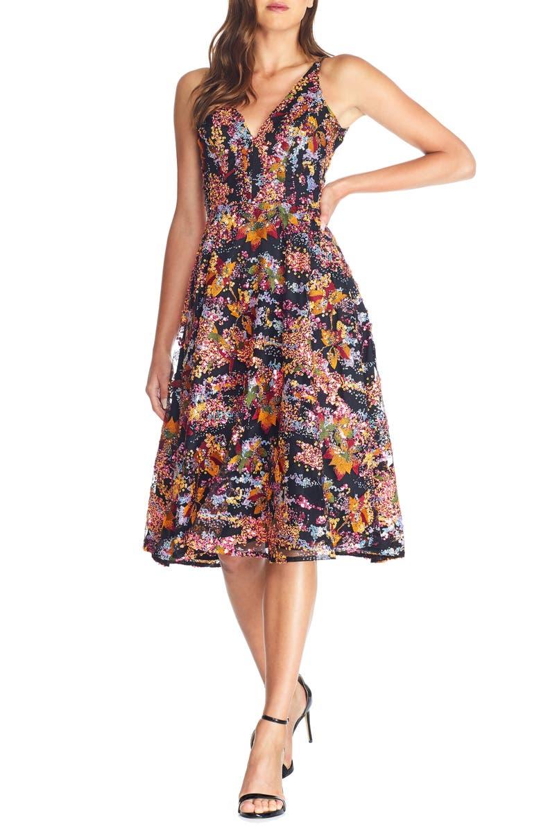 DRESS THE POPULATION Elisa Sequin Embellished Embroidered Fit & Flare Dress, Main, color, PAPAYA MULTI
