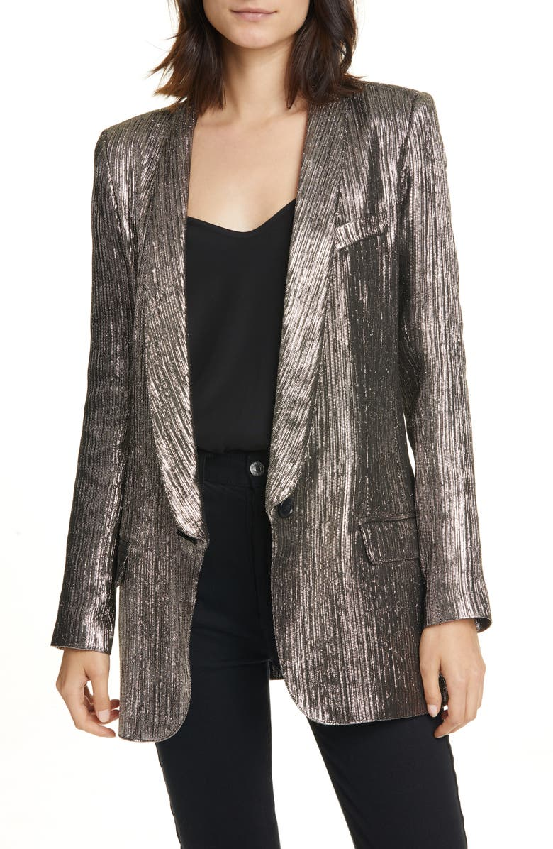 SMYTHE Long Shawl Collar Metallic Blazer, Main, color, PEWTER LAME