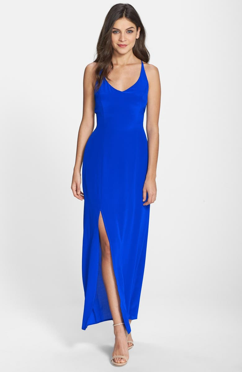 CHARLIE JADE Strappy Back Silk Maxi Dress, Main, color, 421