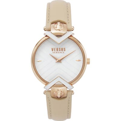 Versus Versace Mabillon Leather Strap Watch,