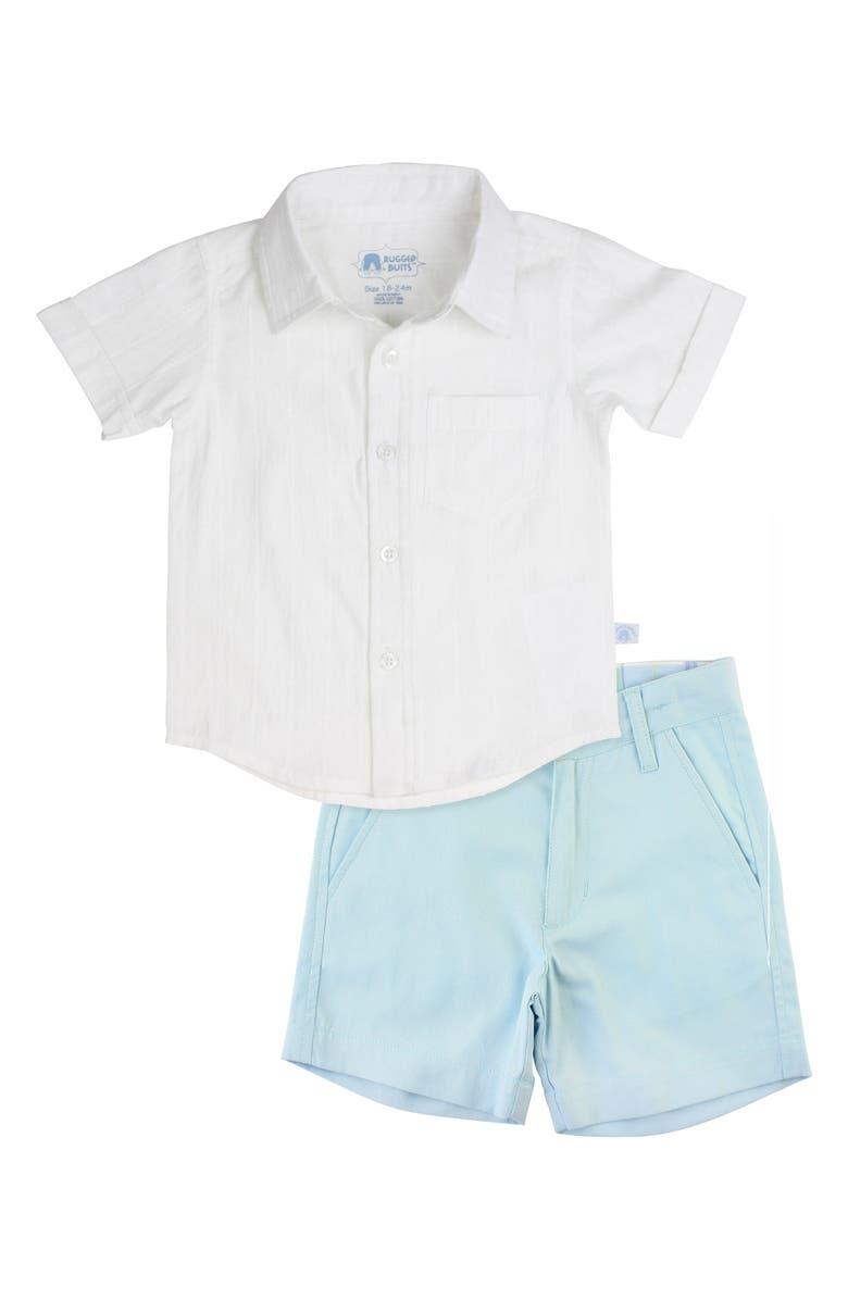 RUGGEDBUTTS Button-Up Shirt & Shorts Set, Main, color, WHITE