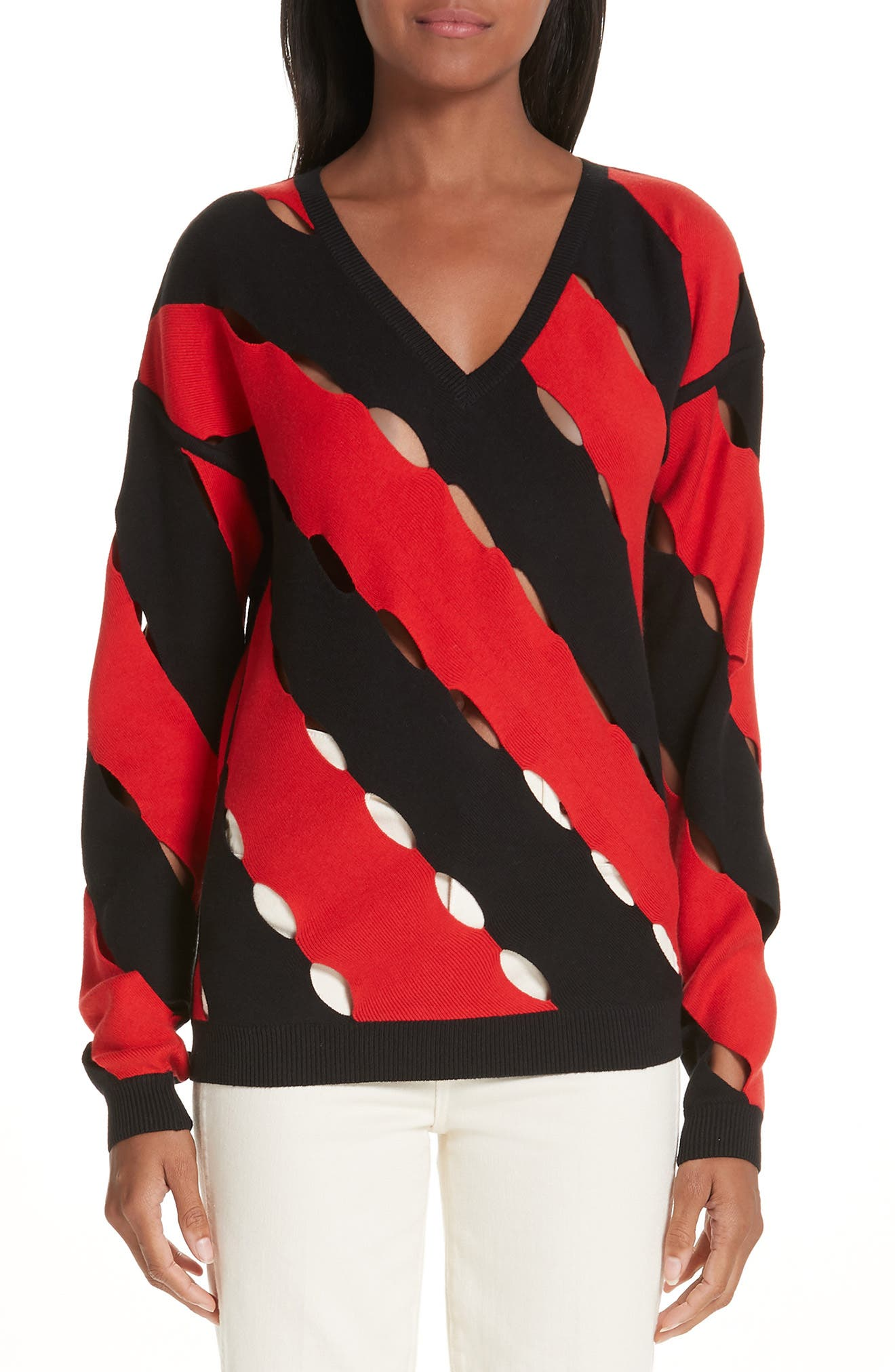 ,                             Diagonal Stripe Sweater,                             Main thumbnail 1, color,                             BLACK AND RED COMBO