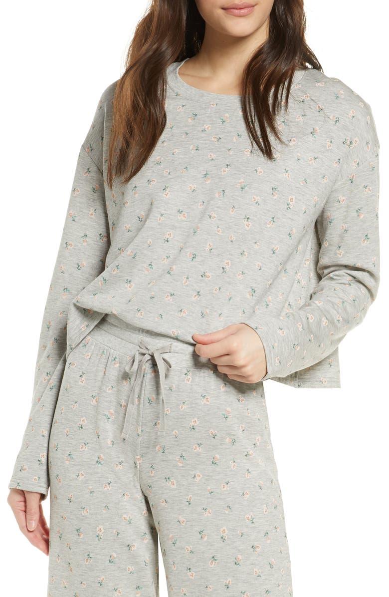 BP. All Weekend Crop Sweatshirt, Main, color, GREY PEARL HEATHER MICRO DITSY