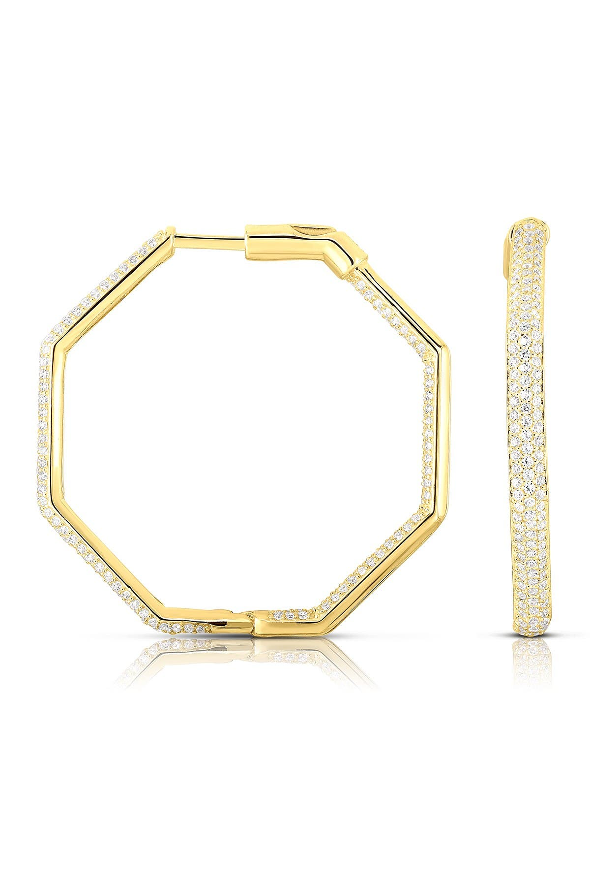 Image of Sphera Milano 14K Yellow Gold Plated Sterling Silver Large Octagon Inside Out CZ Pave 50mm Hoops