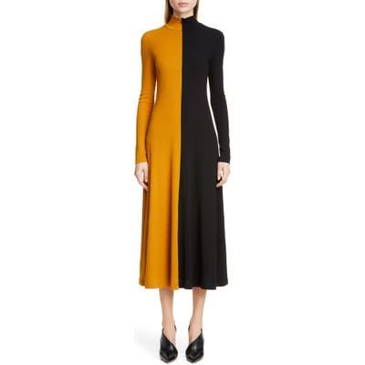 Rosetta Getty Bicolor Long Sleeve Midi Dress, Brown