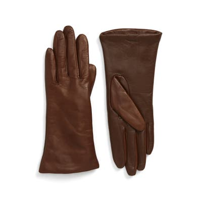 Nordstrom Cashmere Lined Leather Touchscreen Gloves, Brown