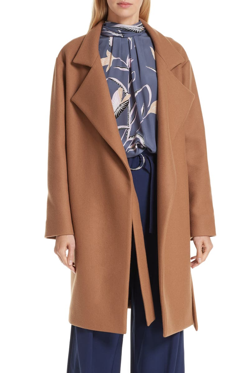 DVF Belted Wool Blend Wrap Coat, Main, color, 233