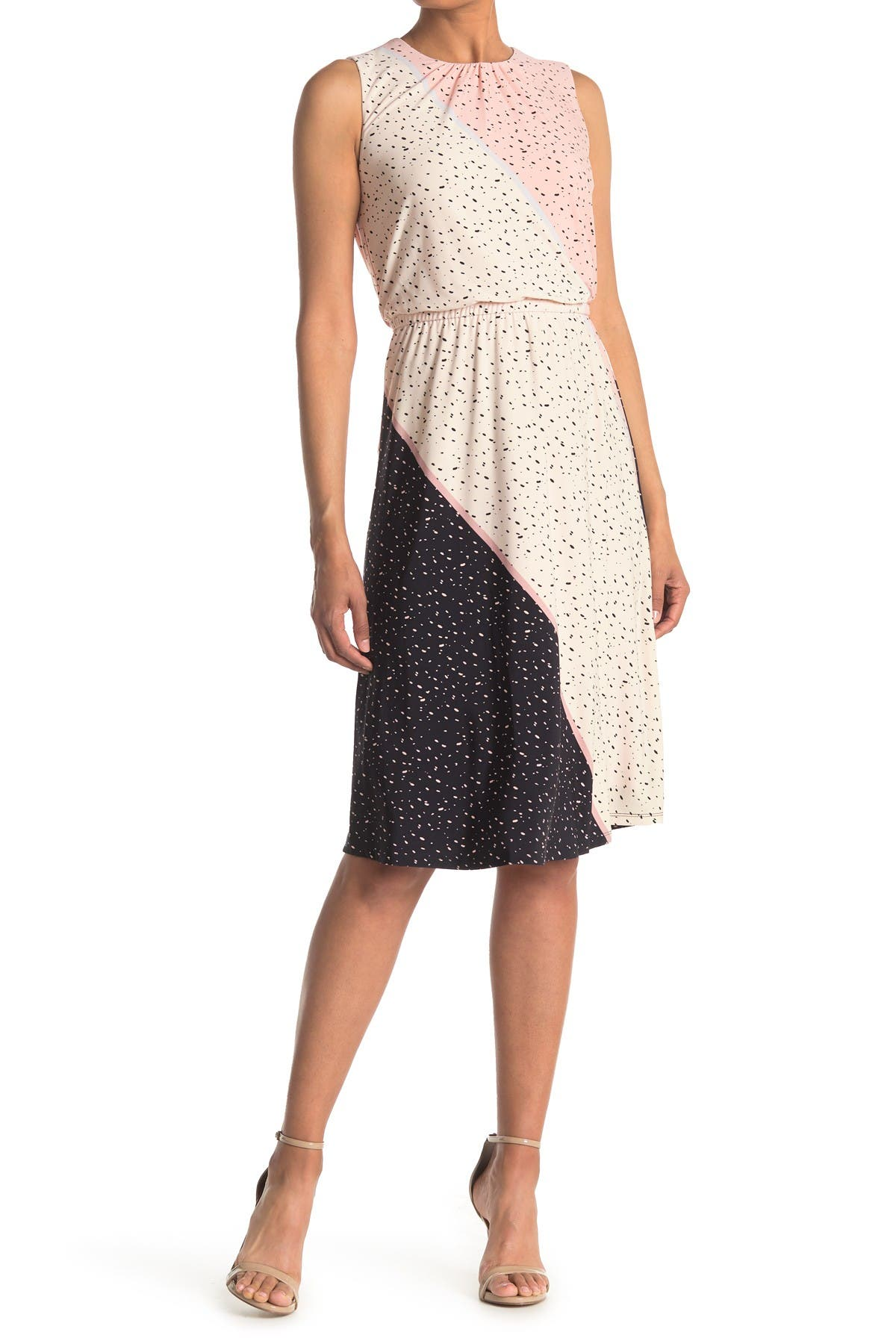 Image of London Times Speckled Texture Speckle Printed Jersey Dress