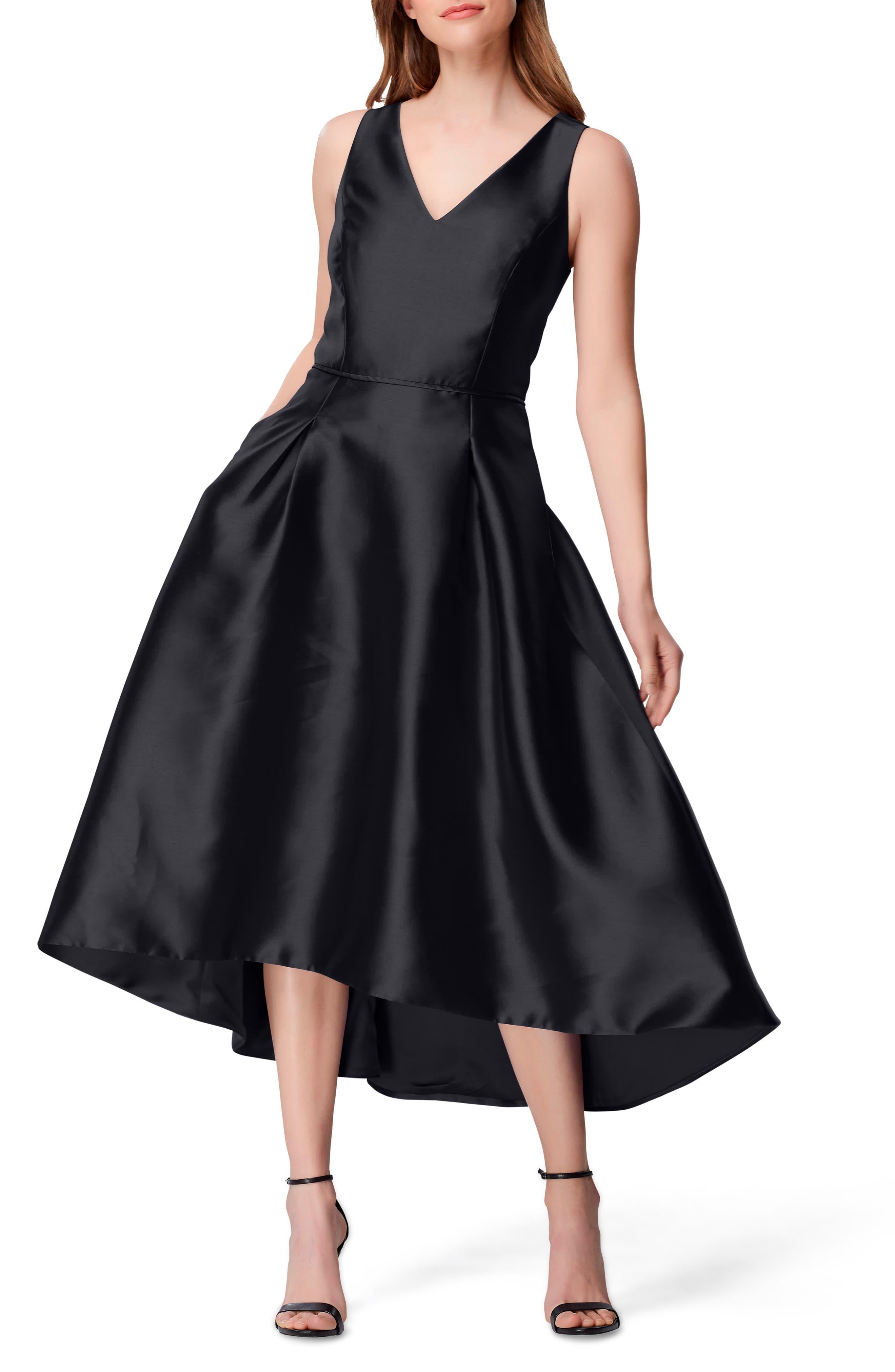 Petite Tahari High/low Mikado Cocktail Dress, Black