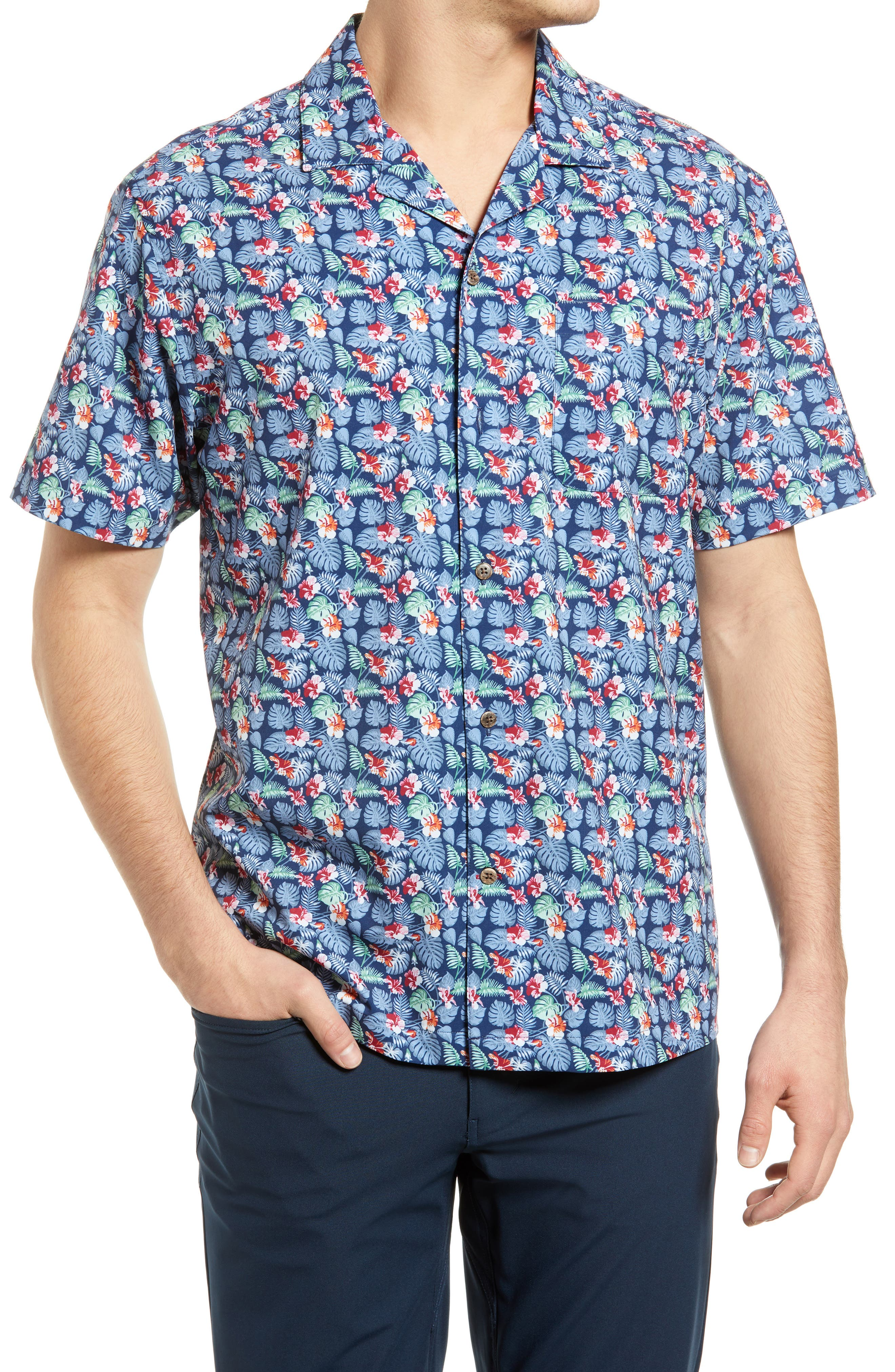 Floral Performance Short Sleeve Button-Up Camp Shirt