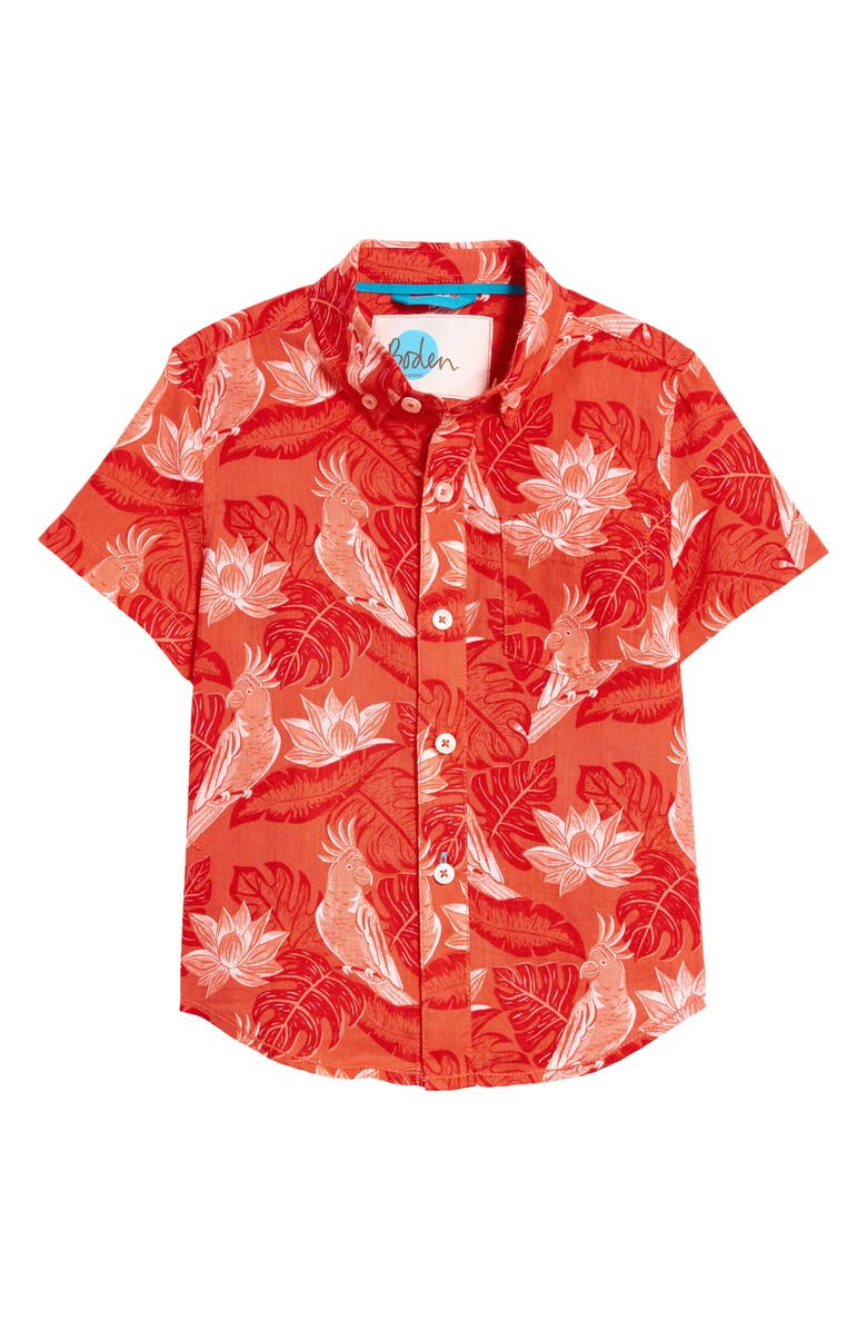 MINI BODEN Vacation Short Sleeve Button-Down Shirt, Main, color, MALLOW RED PARAKEET PALM