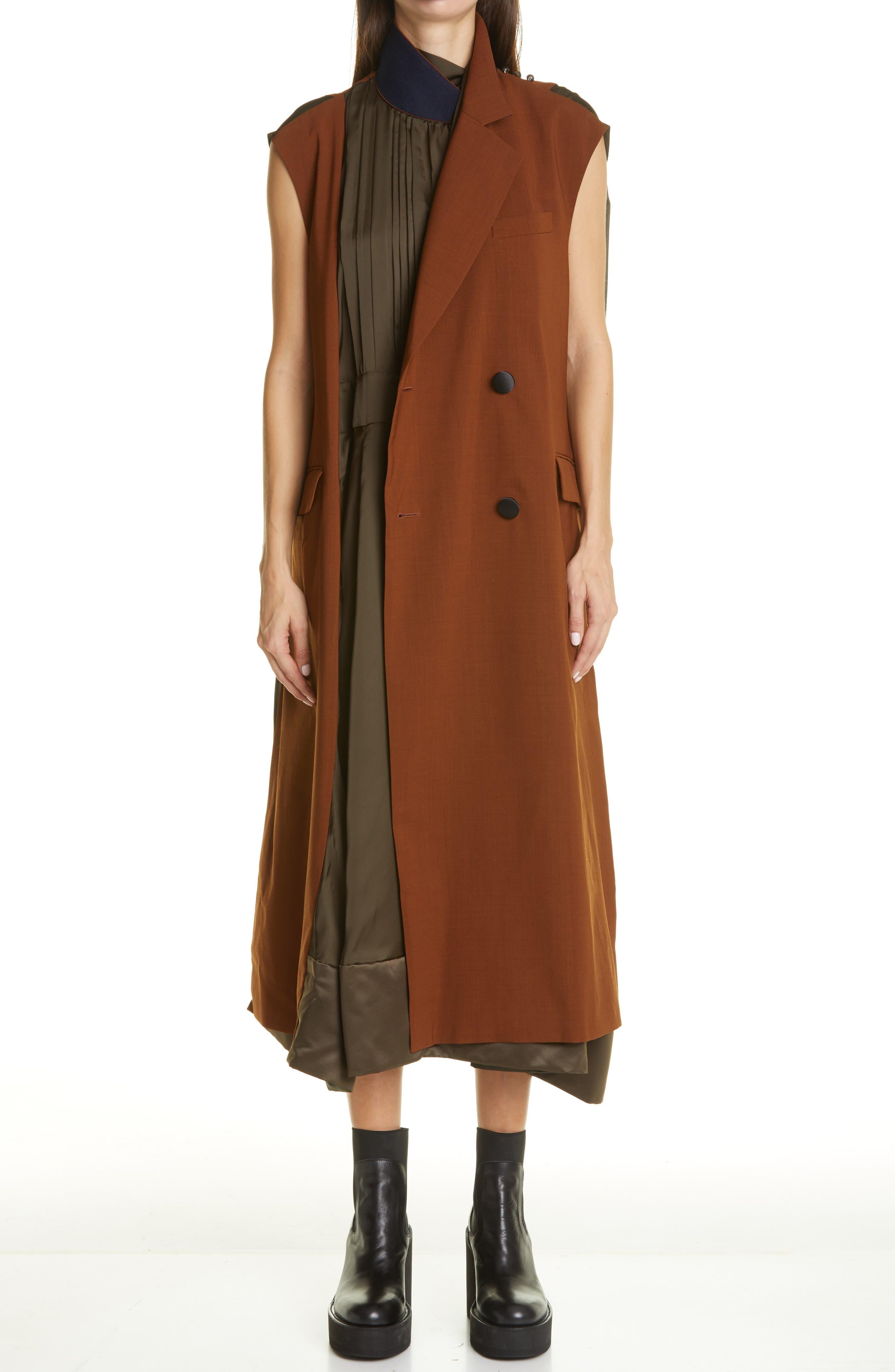 Sacai Mixed Media Midi Dress   Nordstrom