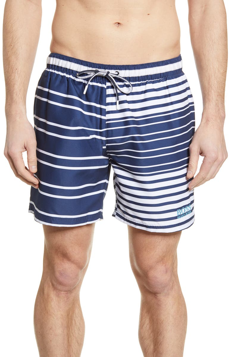 BOSS Glasfish Swim Trunks, Main, color, BLUE